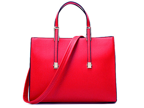 LIGHTWEIGHT PLAIN AND SIMPLE RED HANDBAG WITH LONG SHOULDER STRAP