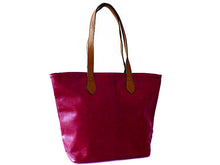 LIGHTWEIGHT PURPLE FAUX LEATHER TOTE HANDBAG