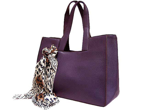A-SHU LIGHTWEIGHT PURPLE MULTI-COMPARTMENT HANDBAG WITH LEOPARD PRINT SCARF AND LONG STRAP - A-SHU.CO.UK