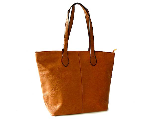 LIGHTWEIGHT TAN FAUX LEATHER TOTE HANDBAG