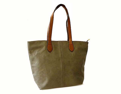 LIGHTWEIGHT TAUPE GREY FAUX LEATHER TOTE HANDBAG
