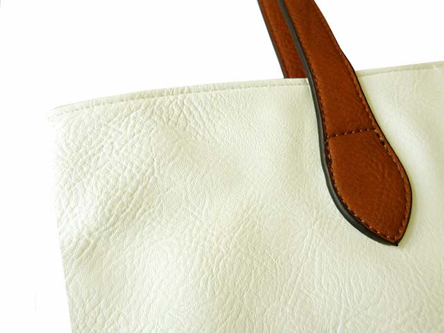 A-SHU LIGHTWEIGHT WHITE FAUX LEATHER TOTE HANDBAG - A-SHU.CO.UK