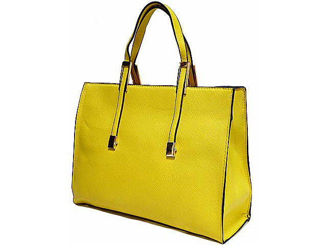 LIGHTWEIGHT YELLOW HOLDALL HANDBAG WITH LONG SHOULDER STRAP