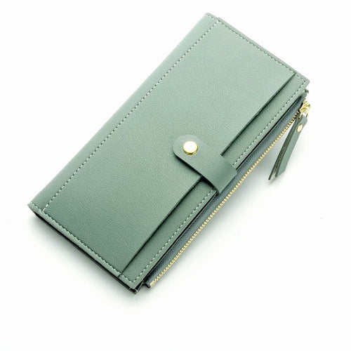 LIGHT BLUE FAUX LEATHER SLIM MULTI-COMPARTMENT PURSE WALLET WITH MOBILE PHONE SLOT