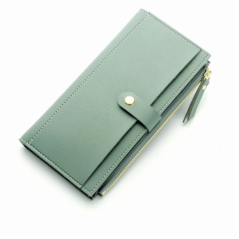 A-SHU LIGHT BLUE FAUX LEATHER SLIM MULTI-COMPARTMENT PURSE WALLET WITH MOBILE PHONE SLOT - A-SHU.CO.UK