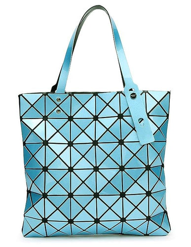 A-SHU LIGHT BLUE LUMINOUS LASER CUT HOLOGRAPHIC GEOMETRIC TOTE HANDBAG - A-SHU.CO.UK