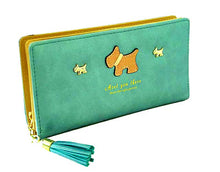 A-SHU LIGHT BLUE MULTI-COMPARTMENT DOG PURSE WALLET WITH TASSEL - A-SHU.CO.UK