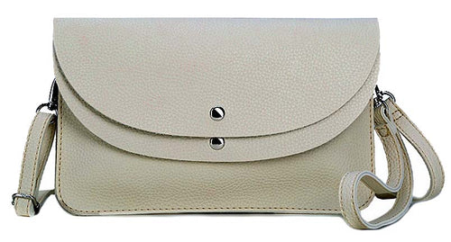 LIGHT GREY ENVELOPE MULTI-POCKET CLUTCH BAG WITH WRISTLET AND LONG SHOULDER STRAP