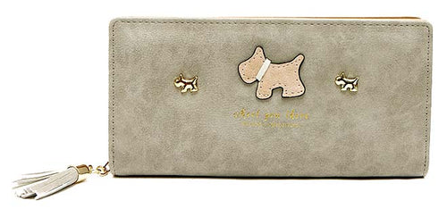 A-SHU LIGHT GREY MULTI-COMPARTMENT DOG PURSE WALLET WITH TASSEL - A-SHU.CO.UK