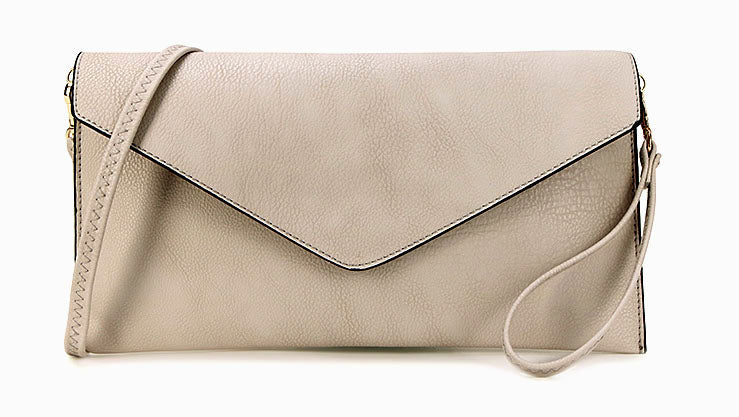 LIGHT GREY OVER-SIZED ENVELOPE CLUTCH BAG WITH LONG CROSS BODY AND WRISTLET STRAP