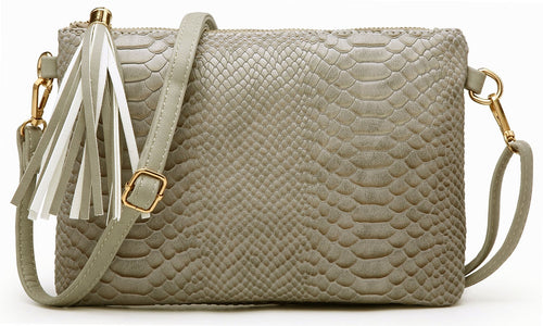 LIGHT GREY PATENT SNAKESKIN TASSEL CLUTCH BAG WITH LONG CROSS BODY SHOULDER STRAP