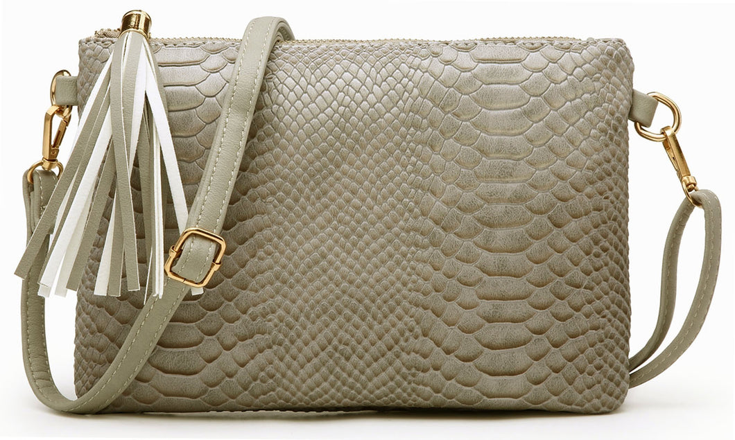 A-SHU LIGHT GREY PATENT SNAKESKIN TASSEL CLUTCH BAG WITH LONG CROSS BODY SHOULDER STRAP - A-SHU.CO.UK