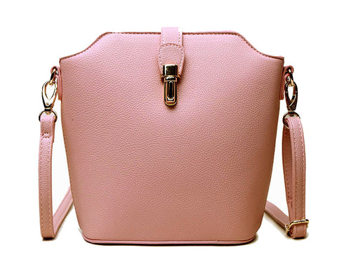 LIGHT PINK CROSS BODY BAG WITH LONG OVER SHOULDER STRAP