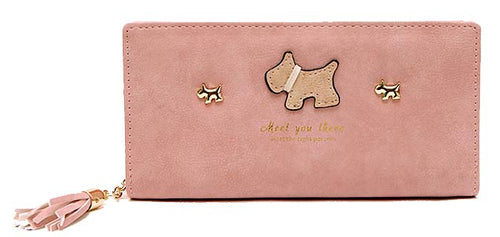 A-SHU LIGHT PINK MULTI-COMPARTMENT DOG PURSE WALLET WITH TASSEL - A-SHU.CO.UK