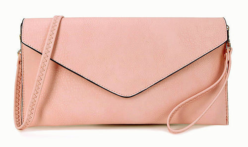 LIGHT PINK OVER-SIZED ENVELOPE CLUTCH BAG WITH LONG CROSS BODY AND WRISTLET STRAP