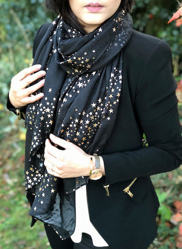 LONG BLACK METALLIC ROSE GOLD GALAXY STAR SCARF