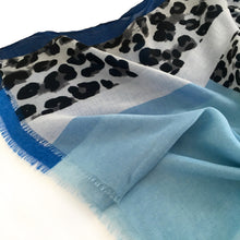 A-SHU LONG BLUE BLOCKS LEOPARD PRINT LIGHTWEIGHT SHAWL SCARF - A-SHU.CO.UK