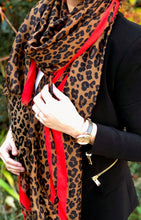 LONG BROWN RED STRIPE LEOPARD PRINT SCARF