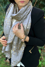 LONG GREY METALLIC ROSE GOLD GALAXY STAR SCARF