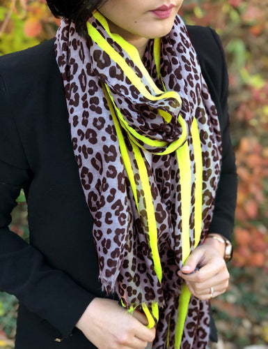 LONG GREY NEON YELLOW STRIPE LEOPARD PRINT SCARF