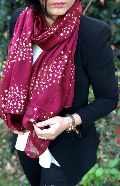 A-SHU LONG MAROON METALLIC ROSE GOLD GALAXY STAR SCARF - A-SHU.CO.UK
