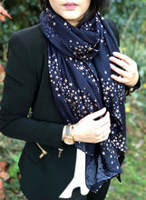 LONG NAVY BLUE METALLIC ROSE GOLD GALAXY STAR SCARF