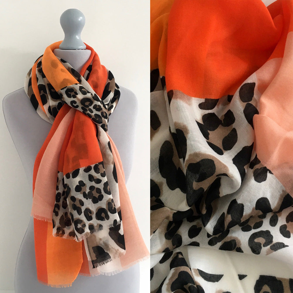 A-SHU LONG ORANGE BLOCKS LEOPARD PRINT LIGHTWEIGHT SHAWL SCARF - A-SHU.CO.UK