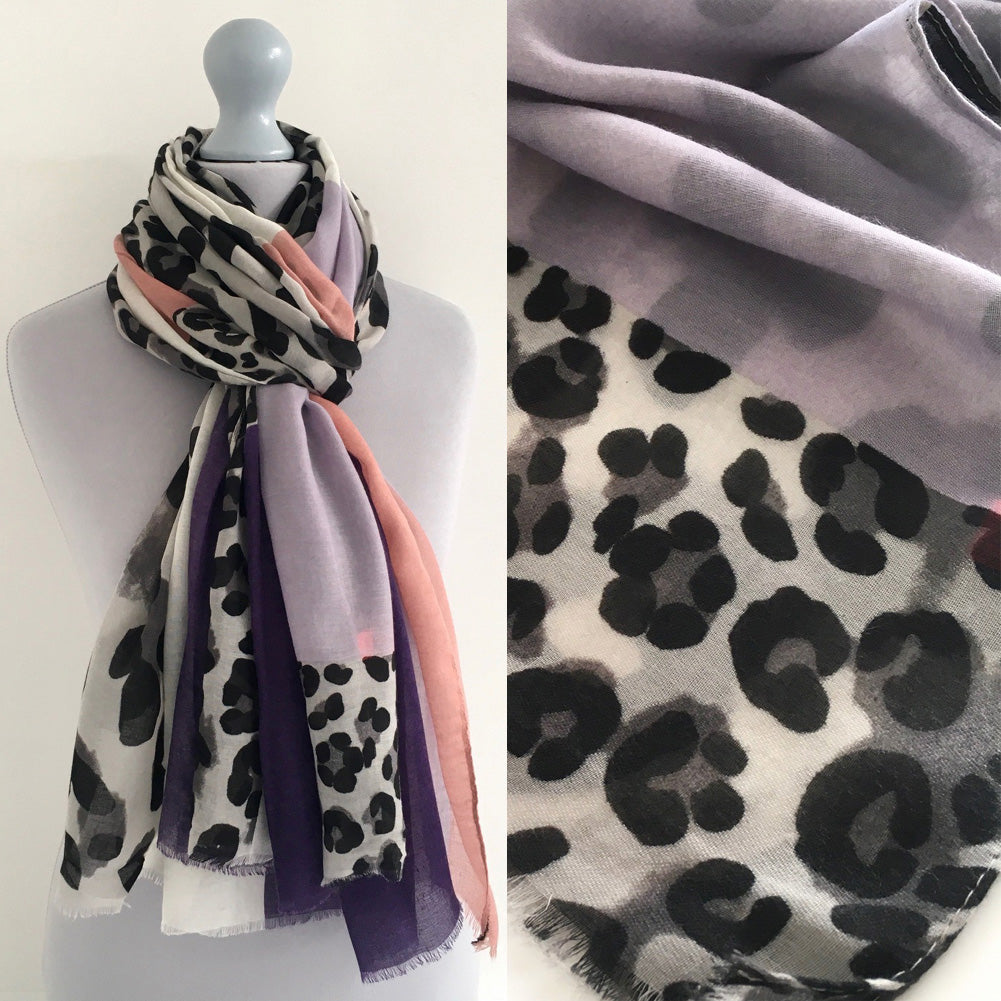 A-SHU LONG PINK BLOCKS LEOPARD PRINT LIGHTWEIGHT SHAWL SCARF - A-SHU.CO.UK