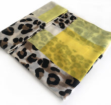 A-SHU LONG YELLOW BLOCKS LEOPARD PRINT LIGHTWEIGHT SHAWL SCARF - A-SHU.CO.UK