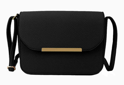 A-SHU BLACK MULTI COMPARTMENT CROSS BODY SATCHEL BAG WITH LONG STRAP - A-SHU.CO.UK