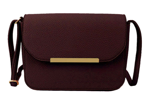A-SHU DARK BURGUNDY MULTI COMPARTMENT CROSS BODY SATCHEL BAG WITH LONG STRAP - A-SHU.CO.UK
