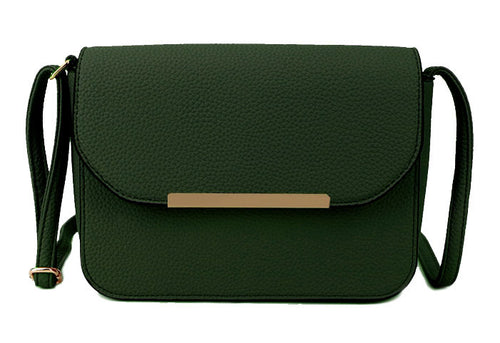 A-SHU DARK GREEN MULTI COMPARTMENT CROSS BODY SATCHEL BAG WITH LONG STRAP - A-SHU.CO.UK