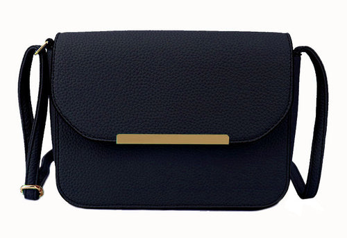 A-SHU NAVY BLUE MULTI COMPARTMENT CROSS BODY SATCHEL BAG WITH LONG STRAP - A-SHU.CO.UK