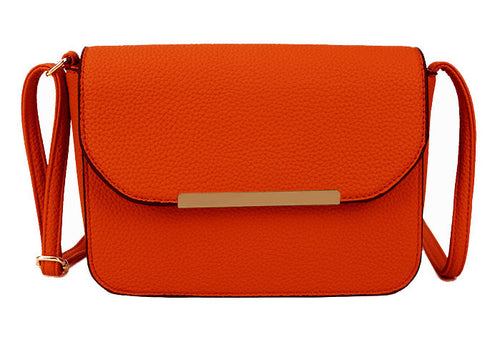 A-SHU ORANGE MULTI COMPARTMENT CROSS BODY SATCHEL BAG WITH LONG STRAP - A-SHU.CO.UK