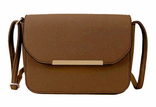 A-SHU TAUPE BROWN MULTI COMPARTMENT CROSS BODY SATCHEL BAG WITH LONG STRAP - A-SHU.CO.UK
