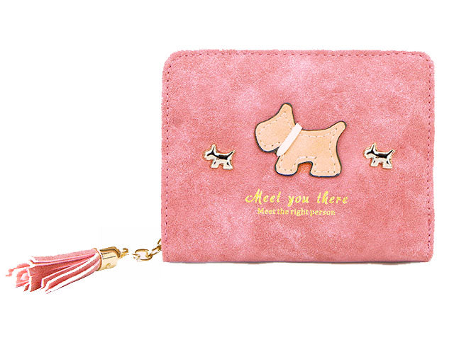A-SHU SMALL LIGHT PINK BI-FOLD DOG WALLET COIN PURSE WITH TASSEL - A-SHU.CO.UK