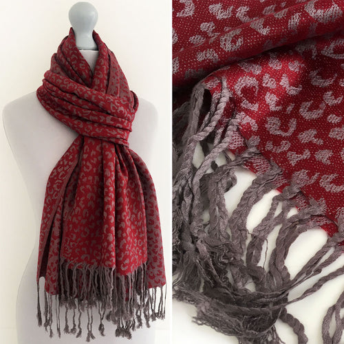 A-SHU MAROON SMALL LEOPARD PRINT REVERSIBLE PASHMINA SHAWL SCARF - A-SHU.CO.UK