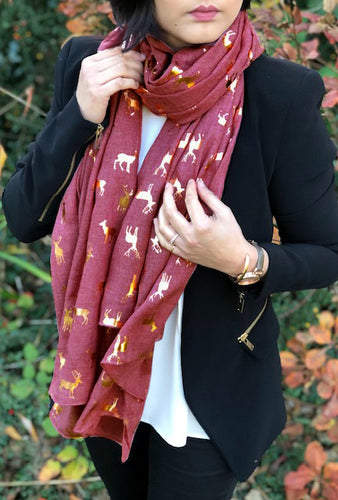A-SHU BURGUNDY PLUM LONG ROSE GOLD DEER SCARF - A-SHU.CO.UK