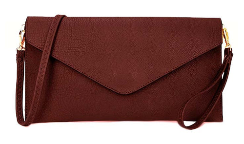 MAROON OVER-SIZED ENVELOPE CLUTCH BAG WITH LONG CROSS BODY AND WRISTLET STRAP