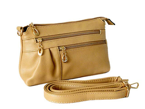 A-SHU MEDIUM MULTI-COMPARTMENT CROSS-BODY CLUTCH BAG WITH LONG SHOULDER STRAP - BEIGE - A-SHU.CO.UK