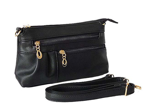 MEDIUM MULTI-COMPARTMENT CROSS-BODY CLUTCH BAG WITH LONG SHOULDER STRAP - BLACK