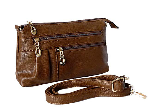 MEDIUM MULTI-COMPARTMENT CROSS-BODY CLUTCH BAG WITH LONG SHOULDER STRAP - BROWN