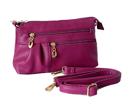 MEDIUM MULTI-COMPARTMENT CROSS-BODY CLUTCH BAG WITH LONG SHOULDER STRAP - PURPLE