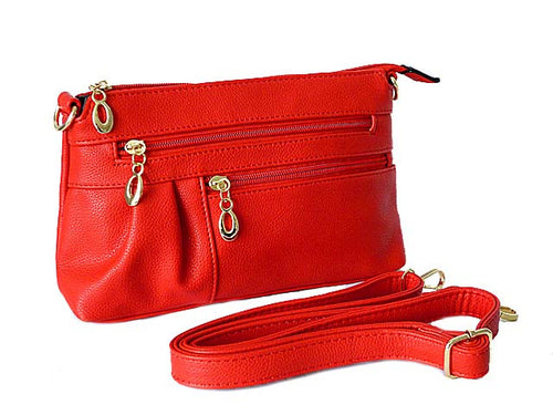 A-SHU MEDIUM MULTI-COMPARTMENT CROSS-BODY CLUTCH BAG WITH LONG SHOULDER STRAP - RED - A-SHU.CO.UK
