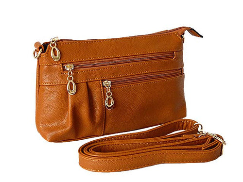 A-SHU MEDIUM MULTI-COMPARTMENT CROSS-BODY CLUTCH BAG WITH LONG SHOULDER STRAP - TAN - A-SHU.CO.UK
