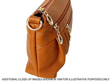 A-SHU MEDIUM MULTI-COMPARTMENT CROSS-BODY CLUTCH BAG WITH LONG SHOULDER STRAP - BROWN - A-SHU.CO.UK