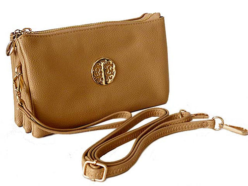 A-SHU MEDIUM MULTI-COMPARTMENT CROSS-BODY CLUTCH BAG WITH WRIST AND LONG STRAPS - BEIGE - A-SHU.CO.UK