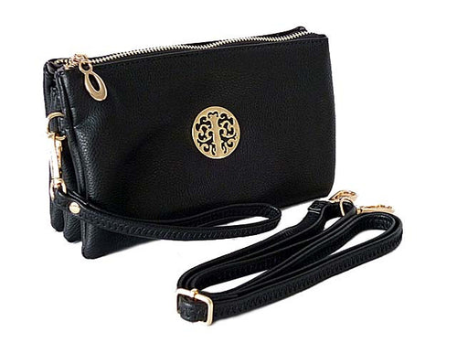 MEDIUM MULTI-COMPARTMENT CROSS-BODY CLUTCH BAG WITH WRIST AND LONG STRAPS - BLACK