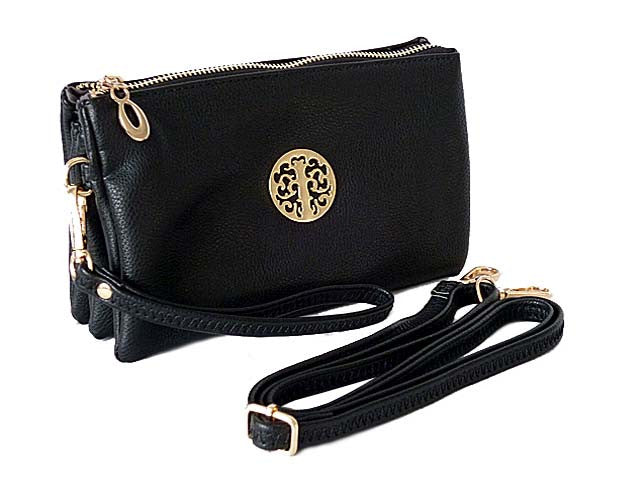 ORDER BY REQUEST - MEDIUM MULTI-COMPARTMENT CROSS-BODY CLUTCH BAG WITH WRIST AND LONG STRAPS - BLACK