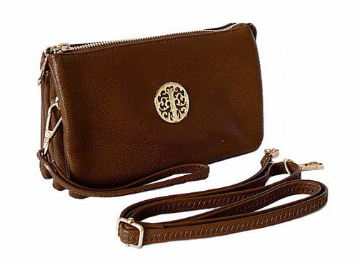 MEDIUM MULTI-COMPARTMENT CROSS-BODY CLUTCH BAG WITH WRIST AND LONG STRAPS - BROWN